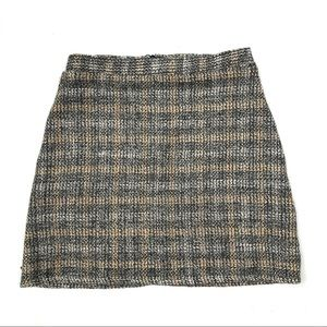 Zara W/B Plaid Knit Tweed Mini Skirt